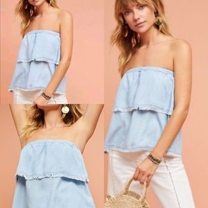 NWT Anthro Cloth & Stone Tiered Strapless Chambray